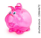 pink little pig toy on white...   Shutterstock . vector #13864672