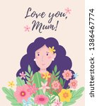 happy mothers day. cartoon... | Shutterstock .eps vector #1386467774