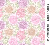 seamless pattern with peony... | Shutterstock .eps vector #1386473861