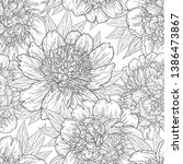 seamless pattern with peony... | Shutterstock .eps vector #1386473867