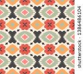 ikat geometric folklore... | Shutterstock .eps vector #1386486104