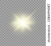 yellow glowing light burst...   Shutterstock .eps vector #1386494087