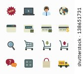 shopping online icons with... | Shutterstock .eps vector #138651731