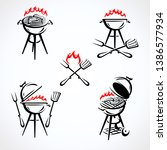 grill labels and elements set.... | Shutterstock .eps vector #1386577934