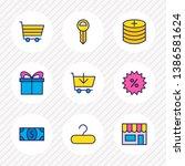 illustration of 9 trading icons ... | Shutterstock . vector #1386581624