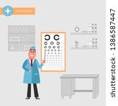 doctor oculist stand at sight... | Shutterstock .eps vector #1386587447