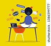 meditation. yoga at the office. ... | Shutterstock .eps vector #1386599777