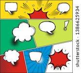 comic speech bubbles on a comic ... | Shutterstock .eps vector #1386625934