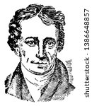 Charles Lamb, 1775-1834, he was an English essayist, poet, and antiquarian, vintage line drawing or engraving illustration