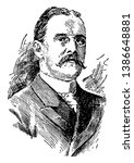 Benjamin Ide Wheeler, 1854-1927, he was an American educator and professor at Brown University, vintage line drawing or engraving illustration