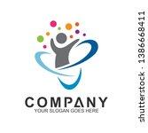 flat kid logo design with... | Shutterstock .eps vector #1386668411