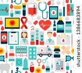 health seamless pattern. vector ... | Shutterstock .eps vector #1386683894