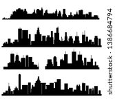 set of vector cities silhouette  | Shutterstock .eps vector #1386684794