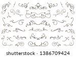 set of hand drawn flourish... | Shutterstock .eps vector #1386709424