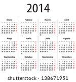 spanish calendar for 2014.... | Shutterstock .eps vector #138671951
