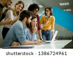 group of young multiethnic... | Shutterstock . vector #1386724961