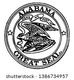 The Great Seal of Alabama, 1911, The image depicts a bald eagle holding a banner that reads Here we rest, It is holding arrows and standing on a shield decorated with stars and stripes, vintage