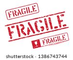 fragile vector grungy box signs ... | Shutterstock .eps vector #1386743744