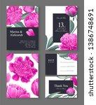 botanical wedding invitation... | Shutterstock .eps vector #1386748691