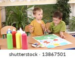 two preschoolers and colorful...   Shutterstock . vector #13867501