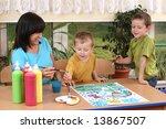 teacher two preschoolers and... | Shutterstock . vector #13867507