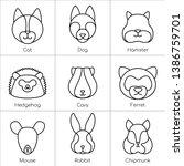 Stock vector a set of linear vector illustrations of pet faces cat dog hamster hedgehog guinea pig 1386759701