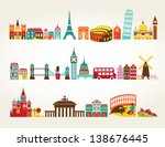 travel and tourism locations | Shutterstock .eps vector #138676445