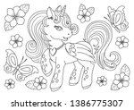 Unicorns Vector. Coloring Book...