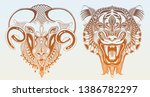 original head tiger drawing... | Shutterstock .eps vector #1386782297