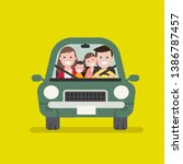 family journey by car. vector... | Shutterstock .eps vector #1386787457