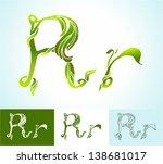 alphabet of green leaves ... | Shutterstock .eps vector #138681017