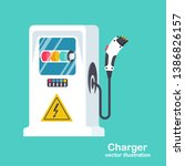 station car charger. electric... | Shutterstock .eps vector #1386826157