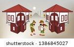 karagoz and hacivat  ramadan... | Shutterstock .eps vector #1386845027