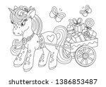 unicorns vector. coloring book... | Shutterstock .eps vector #1386853487
