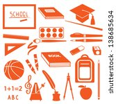 school icons silhouette set | Shutterstock .eps vector #138685634