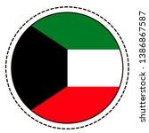 kuwait flag sticker on white...   Shutterstock .eps vector #1386867587