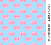 pig snouts seamless pattern for ...   Shutterstock . vector #1386891494