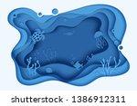 paper cut butterflyfish ... | Shutterstock .eps vector #1386912311