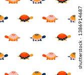 turtle seamless vector pattern. ...   Shutterstock .eps vector #1386914687