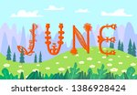 flower lettering june. cute... | Shutterstock .eps vector #1386928424