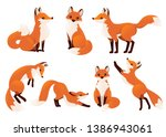Cute Cartoon Fox Set. Funny Re...