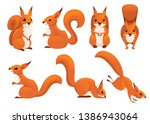 Stock vector cute cartoon squirrel set funny little brown squirrel collection emotion little animal cartoon 1386943064