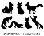 black silhouette. cute cartoon... | Shutterstock .eps vector #1386943151