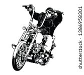 rider on chopper motorbike... | Shutterstock .eps vector #1386958301