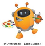 cartoon robot painter... | Shutterstock .eps vector #1386968864