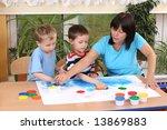 teacher two preschoolers and... | Shutterstock . vector #13869883