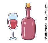 red wine glass and bottle... | Shutterstock .eps vector #1386998594