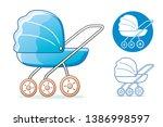 blue baby child pram stroller... | Shutterstock .eps vector #1386998597