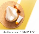 sunprotection objects. straw... | Shutterstock . vector #1387011791