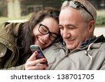 father and teenager daughter... | Shutterstock . vector #138701705